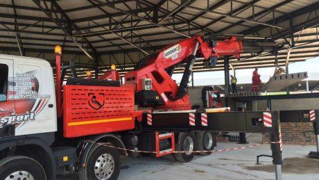 crane truck loading slab